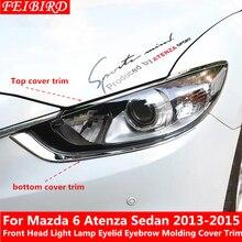 Kit de cubierta de moldura de cejas de faro delantero, accesorios de moldura para Mazda 6 Atenza Sedan 2013 2014 2015