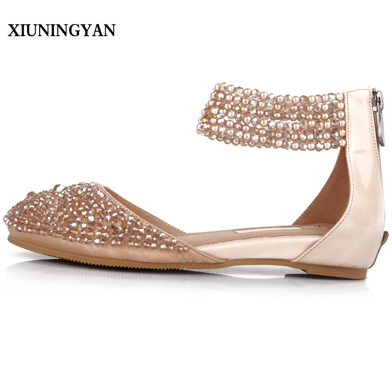 XIUNINGYAN Fashion String Bead Summer Shoes Women Flat Sandals Dress Shoes 2018 New Genuine Leather Pointed Toe Womens Flats