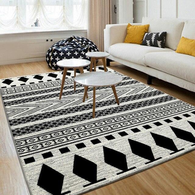 € 40.44 30% de réduction|LIU Simple moderne salon table canapé tapis  décoratif tatami lit chambre tapis noir et blanc géométrique tapis 80*120  ...