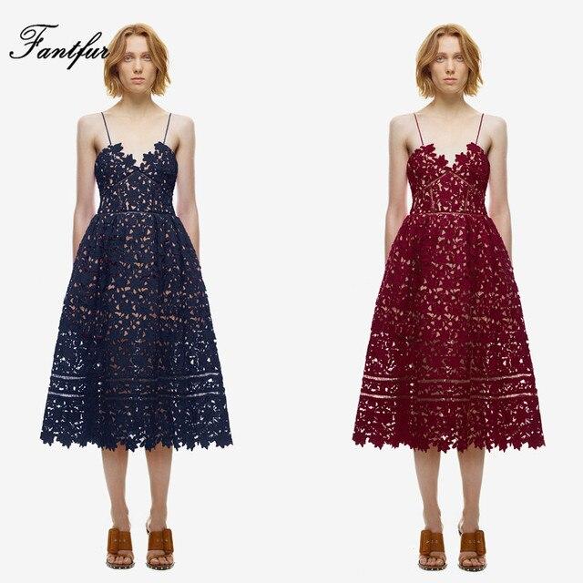 cf45cff52c6a Self Portrait Azalea Midi Lace Dress Women Boho Halter Dresses Women Beach  Hollow Crochet Strapless Tunic Dresses Blue Wine Red