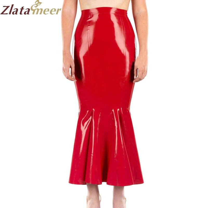 100 Skirt Ld233 Latex Natural Women Red Fashion Rubber Skirts Mermaid Long fTqwUY