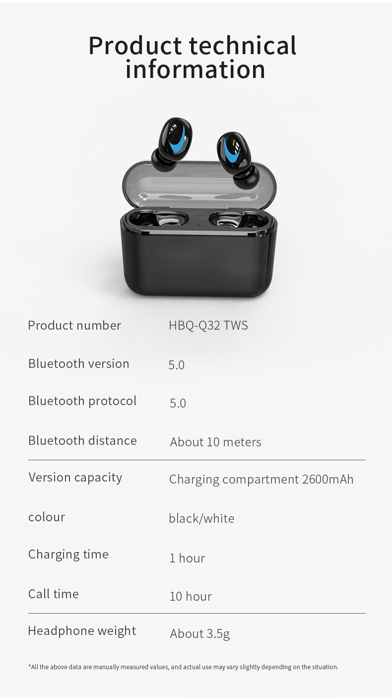 HBQ Wireless Bluetooth Earphones 5.0 With Mic For Hands free Call Charging Box 13