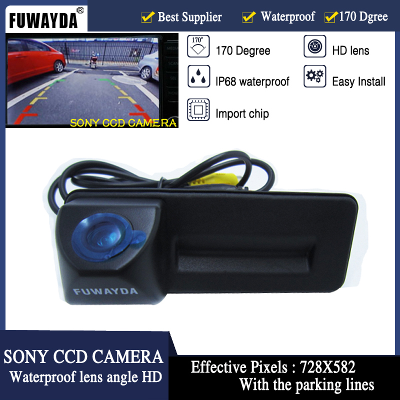 FUWAYDA SONY CCD car trunk handle reverse parking rearview font b camera b font for Skoda