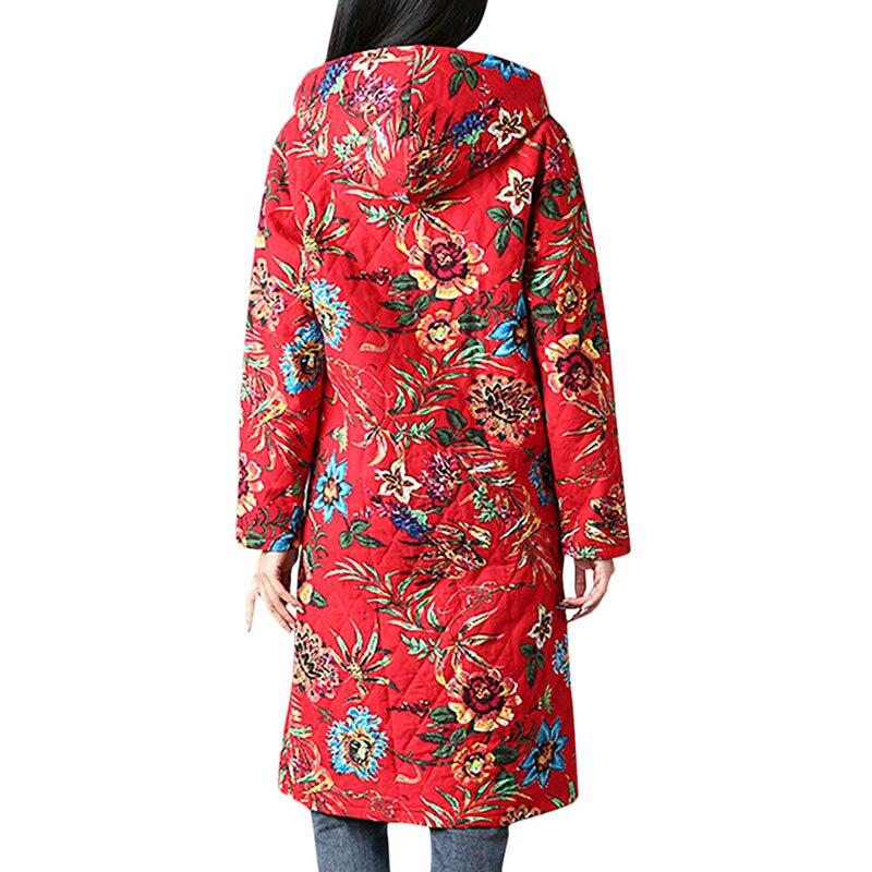 Con Mujer Rojo Chaqueta Capucha Multicolor 2019 Solo Parkas Bolsillos Floral Invierno Breasted Cuello Ropa Estampado Otoño E Marino azul Abrigo Étnicas zYUYqwvpP
