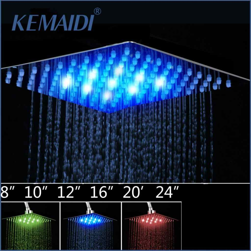 "KEMAIDI  4""6""8""10""12"" Bathroom Rain Shower Head High Pressure LED Light Shower Head Chuveiro Do Banheiro Without Arm"