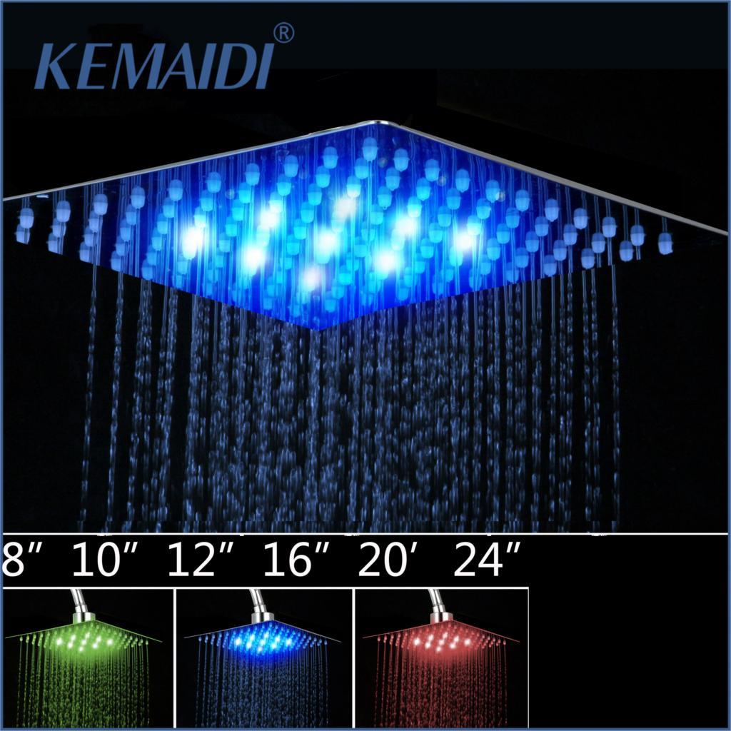 "KEMAIDI  4""6""8""10""12"" Bathroom Rain Shower Head High Pressure LED Light Shower Head Chuveiro Do Banheiro Without Arm"