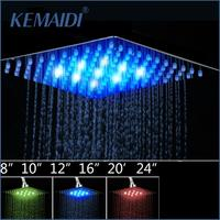 KEMAIDI 4681012 Bathroom Rain Shower Head High Pressure LED Light Shower Head Chuveiro Do Banheiro Without Arm