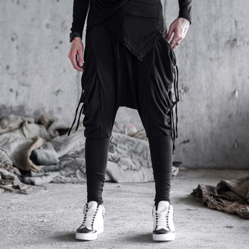 Casual Trousers Male Ribbons Loose Cross Pant Stage Show Costumes Men Fashion Gothic Harem Pants Japan Streetwear Hip Hop