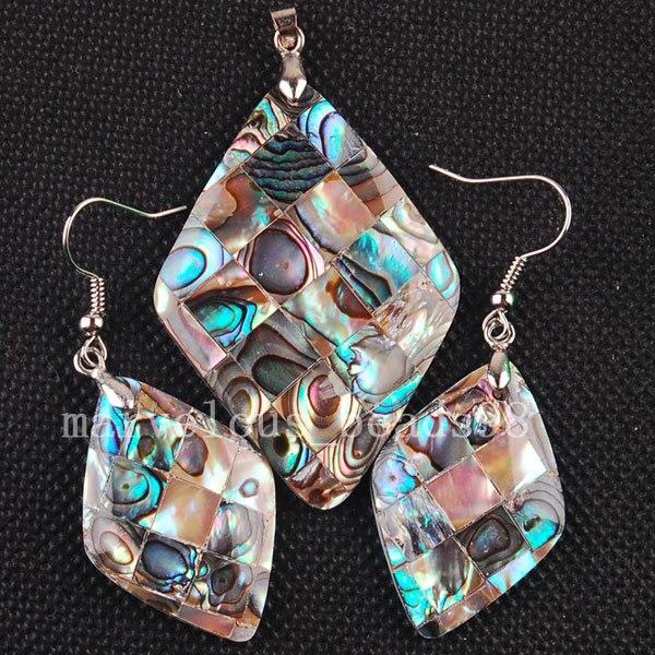 Schmuck & Zubehör Versandkostenfrei Modeschmuck Neuseeland Abalone Muschel Kunst Baumeln Ohrringe Anhänger Set Mc3254 Feines Handwerk
