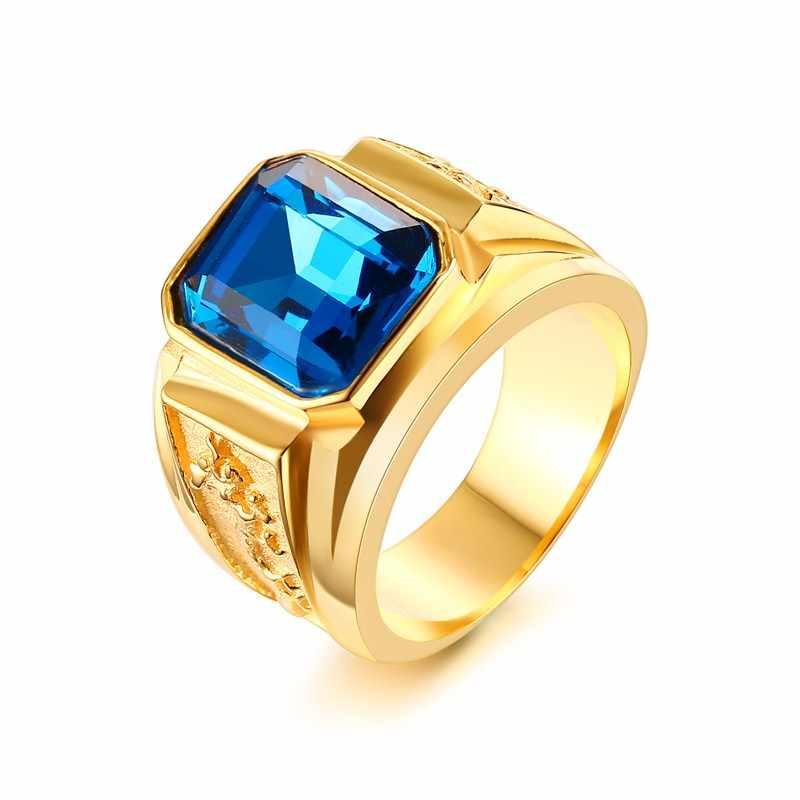 ผู้ชายสีน้ำเงิน Rhinestone แหวนรูปแบบมังกรทอง-สีผู้ชายชายสแตนเลสเครื่องประดับ anel masculino
