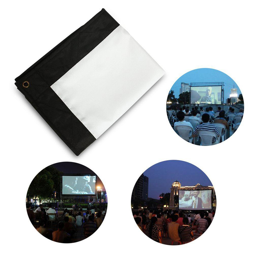 Amzdeal Portable Foldable 4:3 HD Display 72Inchs Projector Screen Fiber Canvas Curtain Home Cinema Outdoor Courtyard