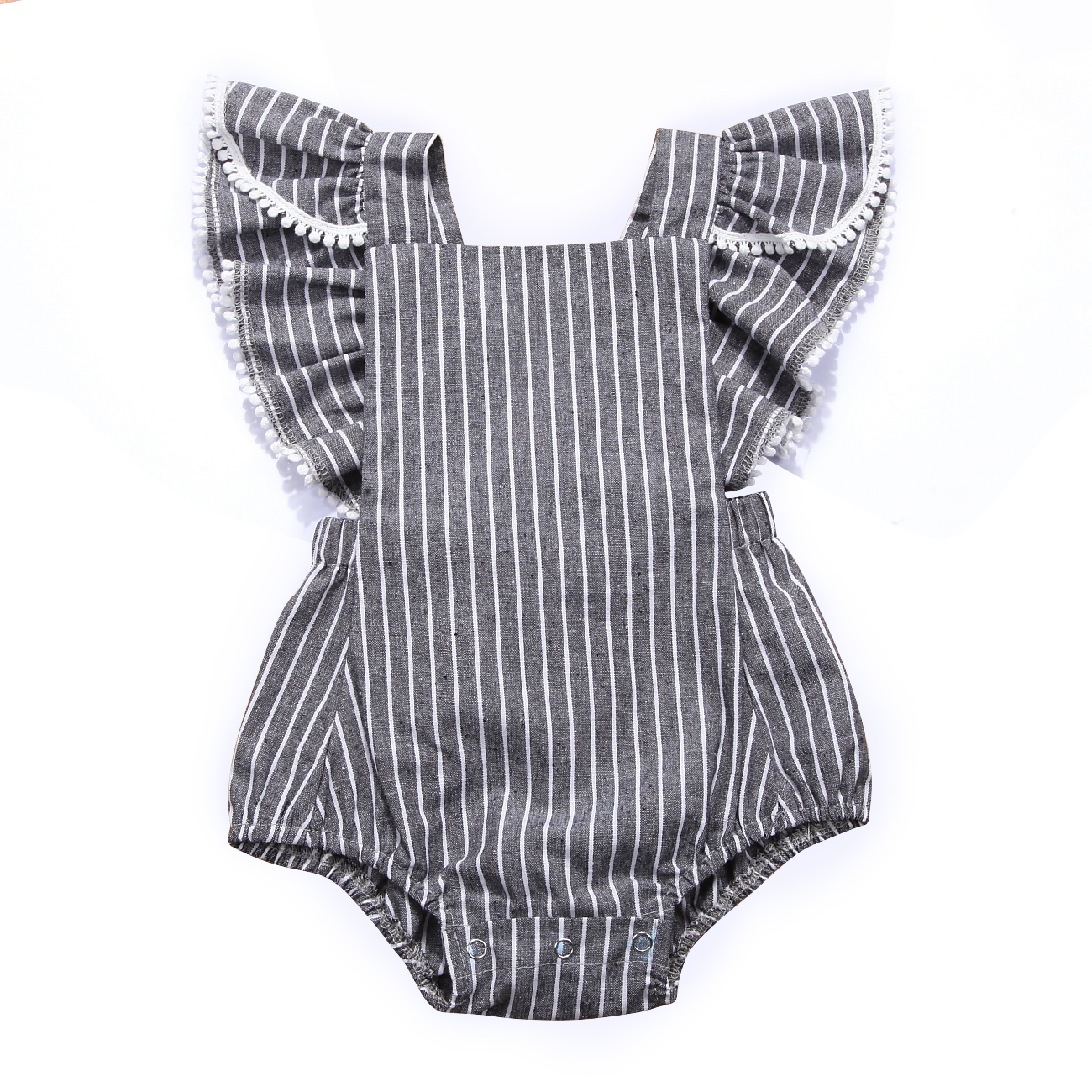 Newborn Toddle Kids Baby Girls Infant Bodysuit Summer Clothes Stripe Fly Sleeve Ruffel Bodysuit Sunsuit Cotton Clothes 0-24M