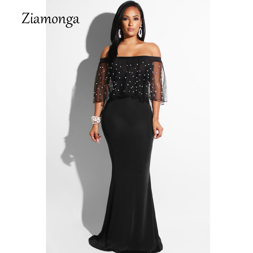 US $17.78 10% OFF|Ziamonga Women Black Long Dress Plus Size Ruffles Beaded  Off Shoulder Mermaid Dress For Evening Party Short Sleeve Vestidos-in ...