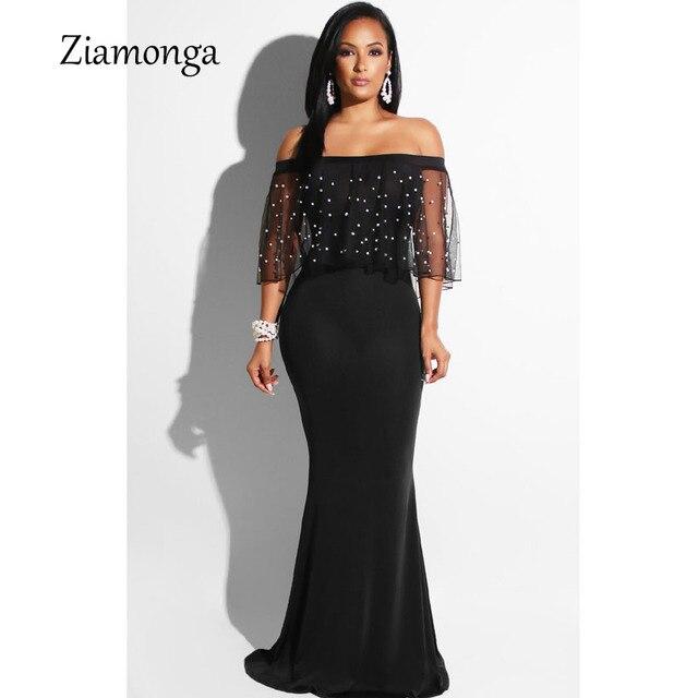 Aliexpress.com : Buy Ziamonga Women Black Long Dress Plus Size Ruffles  Beaded Off Shoulder Mermaid Dress For Evening Party Short Sleeve Vestidos  from ...