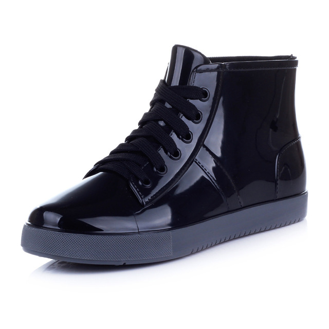 7933db3c883f autumn winter lace up plastic rubber pvc jelly high top ankle boots school  student preppy style