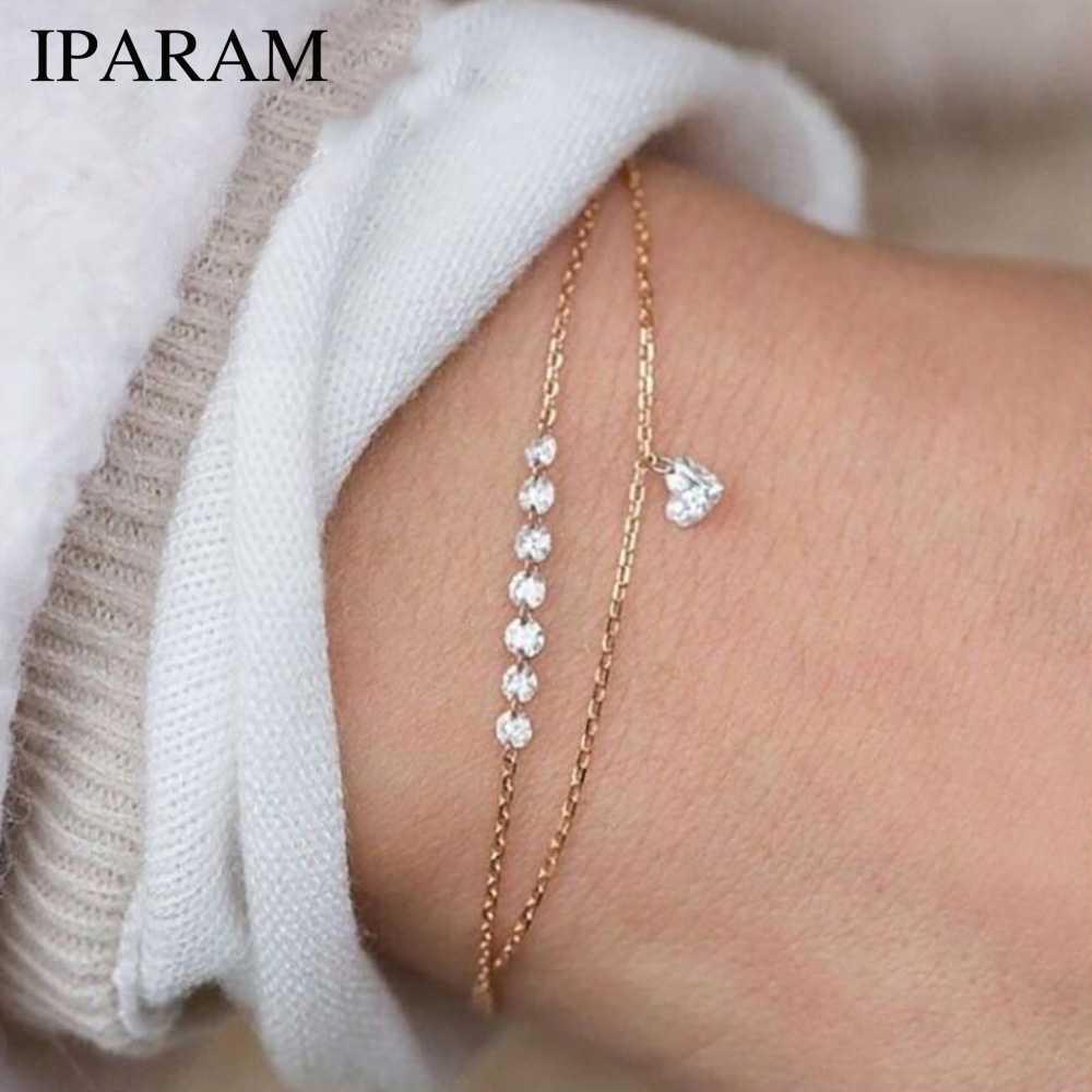 15efae5f3766 IPARAM Мода двойной Слои кристалл в форме сердца браслет Для женщин Магия  имитация ...