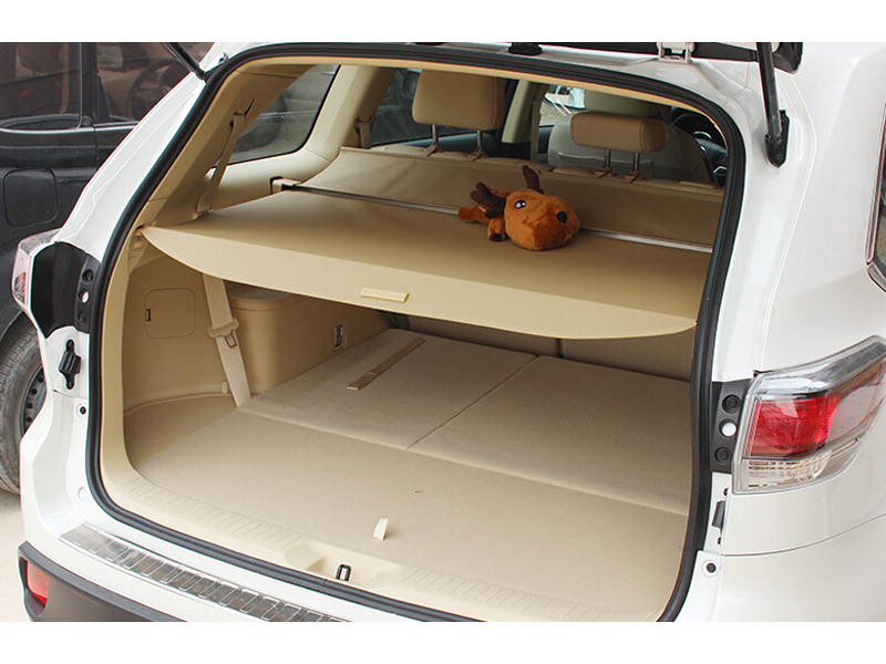 Beige Rear Shield Security Cargo Cover Shade 7 Seat For Toyota Highlander 2015 2016 2017 car rear trunk security shield shade cargo cover for toyota highlander 2009 2010 2011 2012 2013 2014 2015 2016 2017 black beige