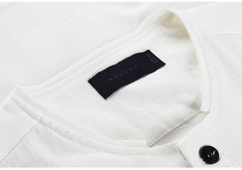 KUEGOU летние модные мужские рубашки тонкие черные белые карманы брендовая одежда для мужчин короткий рукав обтягивающая одежда мужские топы 1370