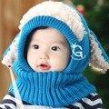 Nova Moda Bonito do Inverno Do Bebê Chapéus Bonés Para Meninas/Meninos Crianças Chapéu feito malha e Conjunto de Cachecol Quente Skullies & Gorros de Crochê Cap