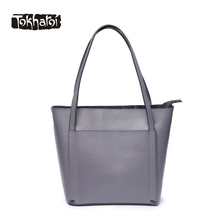 Tokharoi Brand New Design Genuine Leather Women Handbags Solid Style Fashion Crossbody Bag High Quality Shoulder Bag Casual Tote