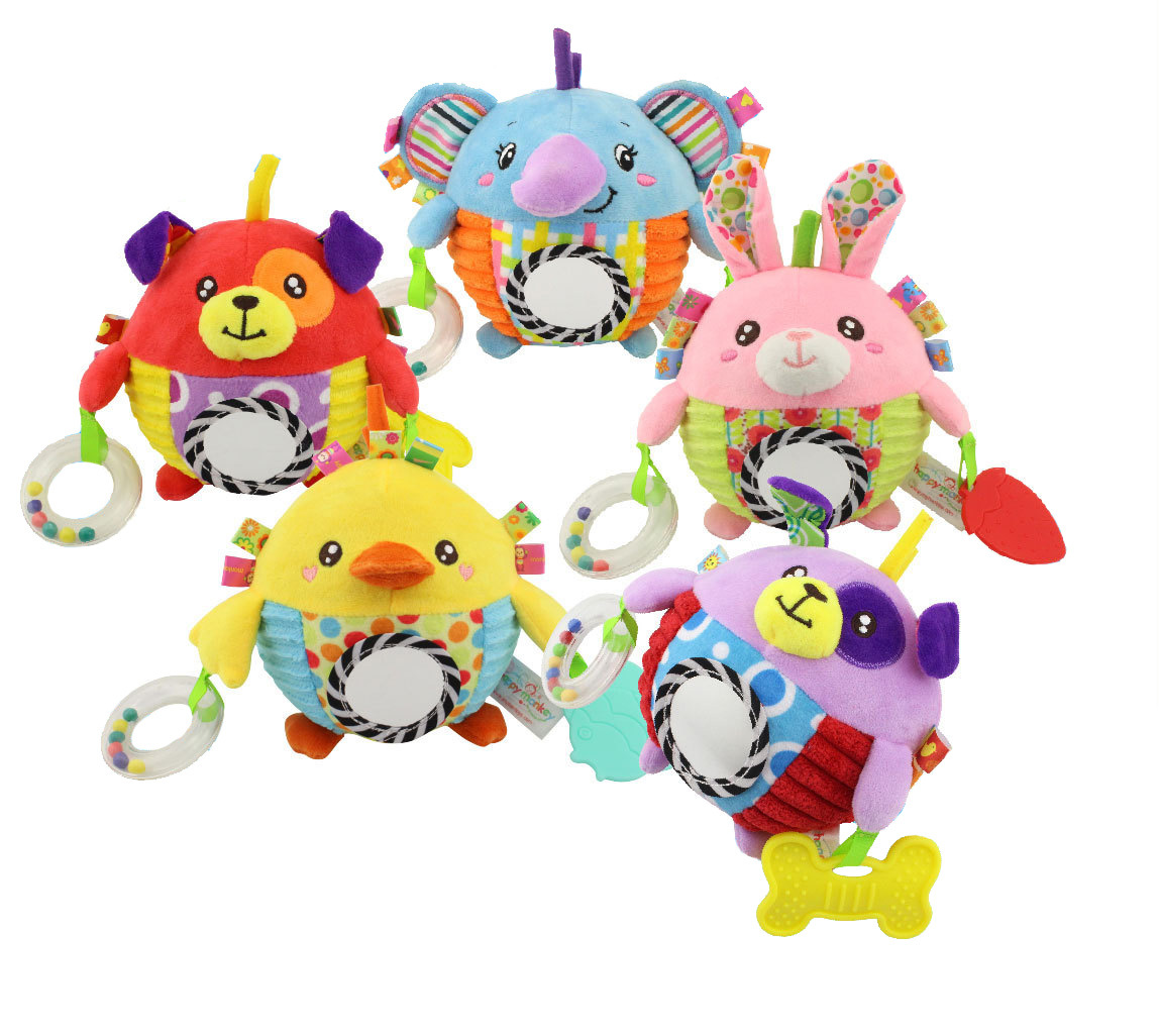 Crib Baby Rattles Mobiles Bed Bell Winding Stroller Pendant Cute Cotton Plush Hanging Soft Grip Ball Toys 5 Colors