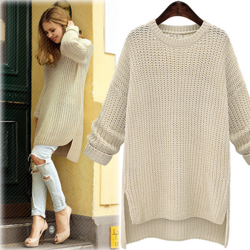 2019 Winter Midi Long Thick Sweaters for Women New Irregular O Neck Cute Solid Knitted Pullovers Girls Lady Casual Split Sweater