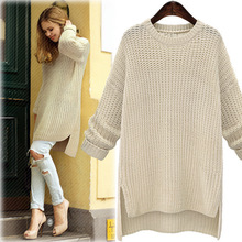 2019 Winter Midi Long Thick Sweaters for Women New Irregular O-Neck Cute Solid K