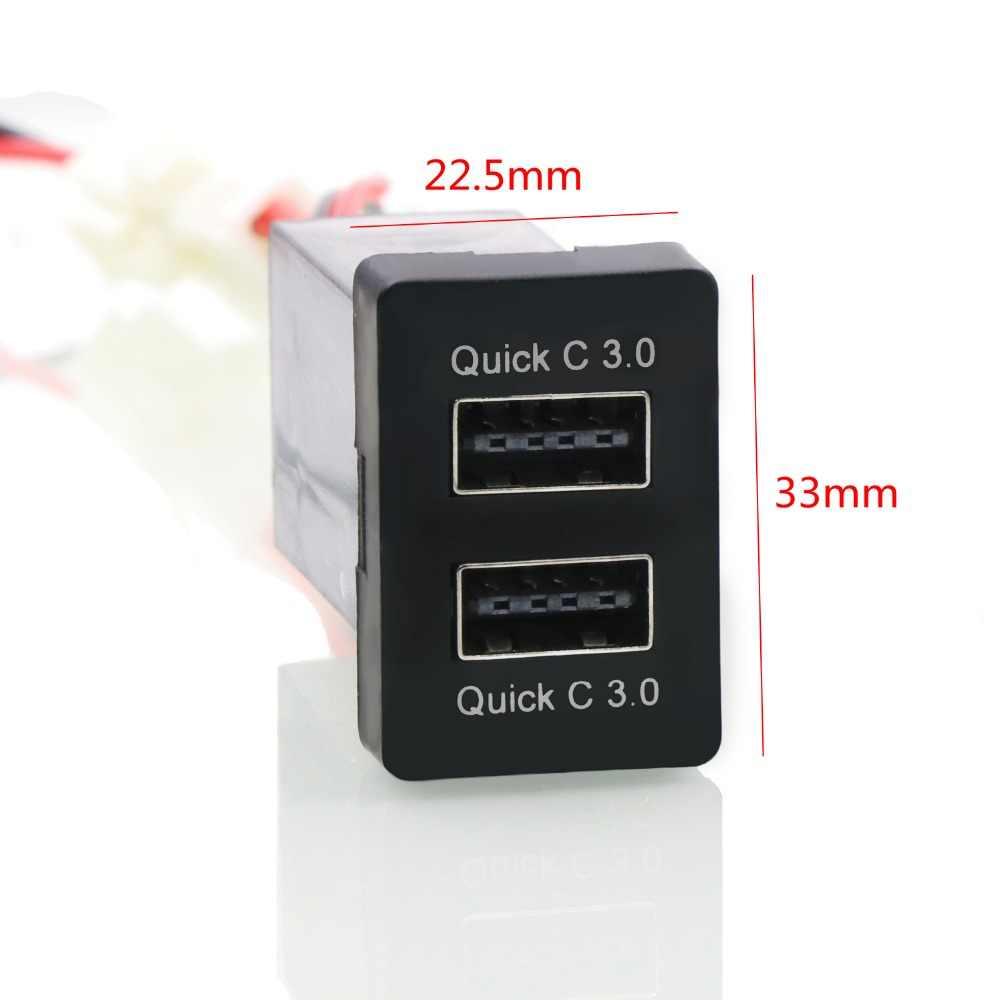 Dual QC3.0 อินเทอร์เฟซ USB Socket Fast Car Charger, ชาร์จ Car Charger ใช้สำหรับ TOYOTA, Camry, corolla, Yaris, RAV4, Reiz, Cruiser