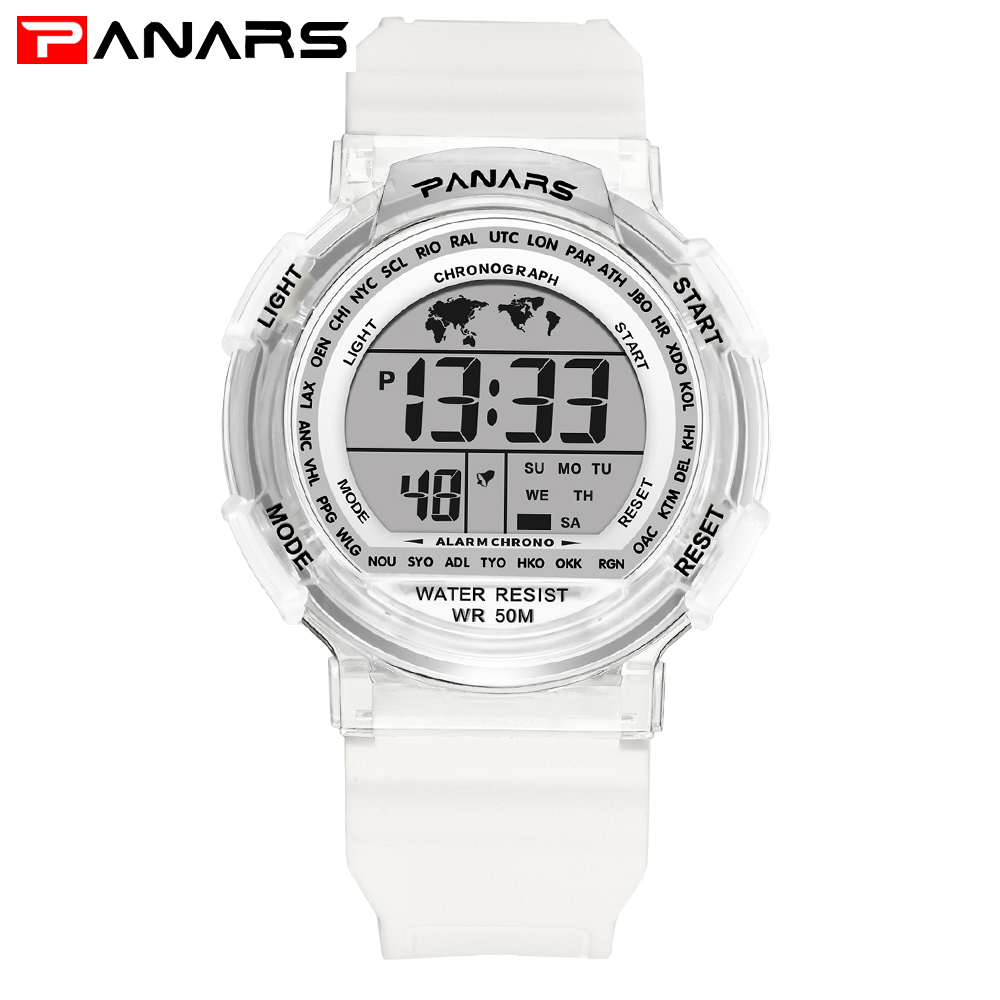 White Women Chronograph Watches PANARS Silicone Countdown LED Digital Watch Men&Women Sports Clock Neutral reloj deportivo