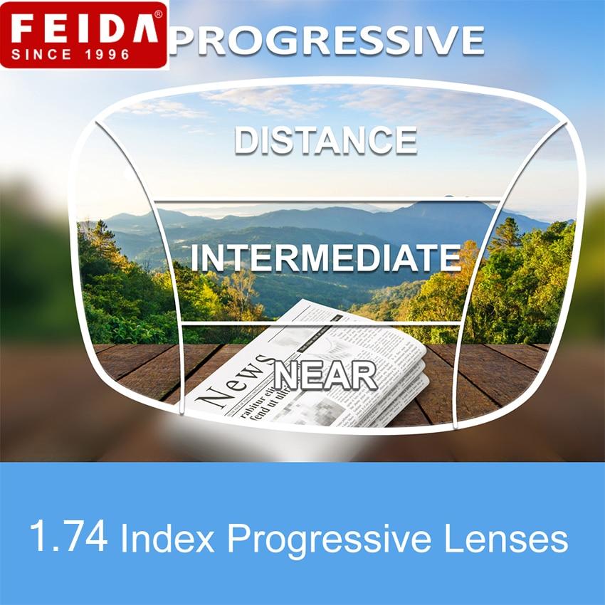 FEIDA 1 74 Progressive Lenses for Eyes UV400 Anti Reflective Prescription Myopia Hyperopia Short Middle Far