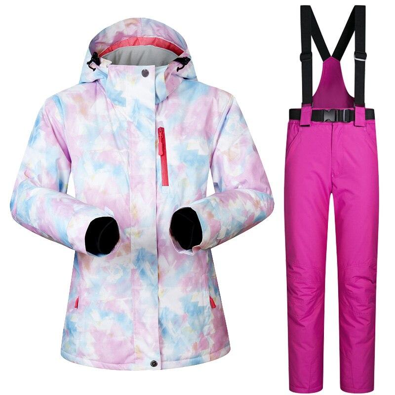 Nouvelle veste et pantalon de Ski pour femmes d'hiver imperméable à l'eau Super chaud convient aux marques de vêtements de Ski et de Snowboard pour femmes - 2