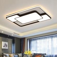 Современный дом светодиодная люстра освещение гостиная спальня украшения белый черный железный корпус с пультом дистанционного управления