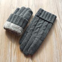 Gorące zimowe rękawiczki męskie rękawiczki do ekranu dotykowego modne rękawiczki męskie aksamitne grube rękawiczki wełniane rękawiczki dziewiarskie darmowa wysyłka tanie tanio Wełna Kaszmiru Dla dorosłych Stałe Nadgarstek Moda