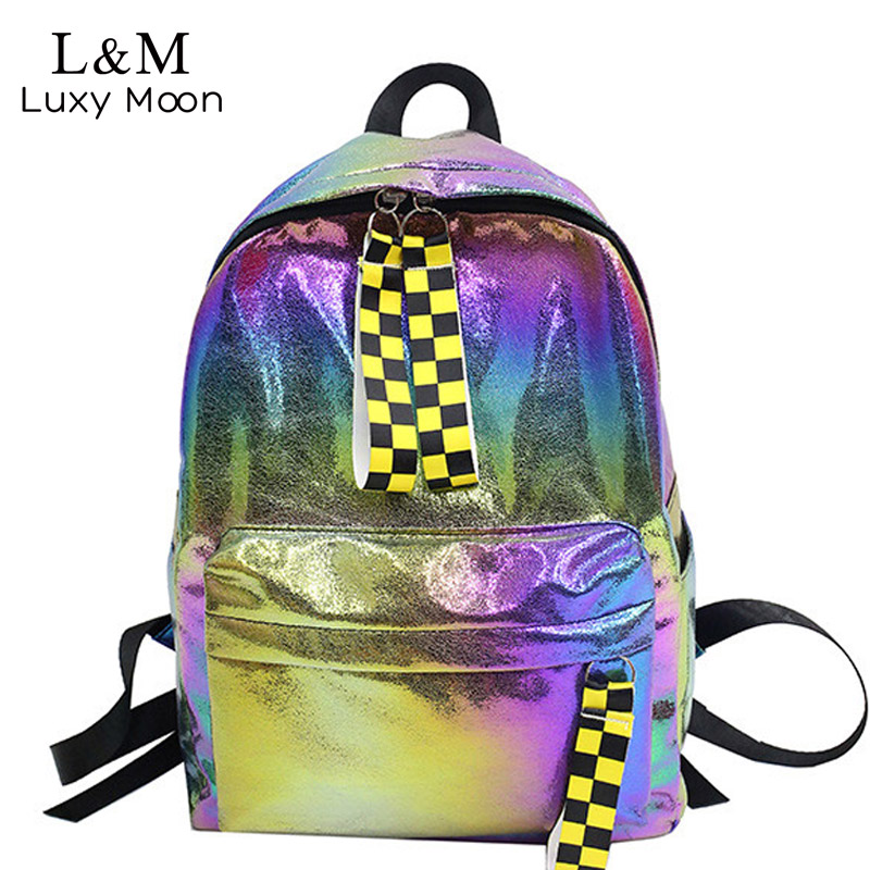 Backpack School-Bag Teenage-Girls Fashion Women's Simple PU XA418H Moon Luxy Laser Large-Capacity
