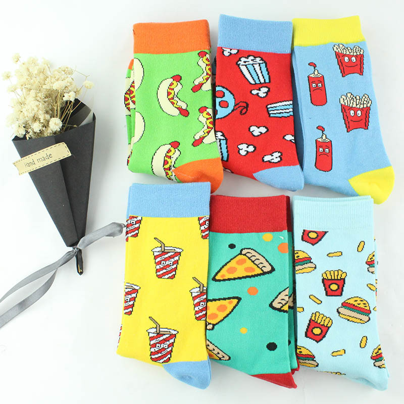 Dessert Food fries burger Sushi Fruit   Socks   Short Funny Cotton   Socks   Women Men Happy Creative Pattern   Socks   Female