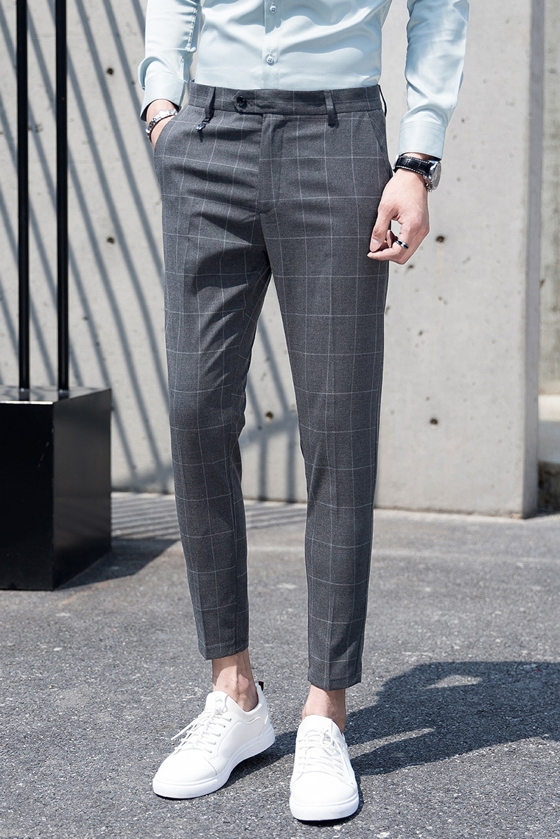 0fbb2ed5d04d Summer New Youth Gentleman Slim Fit Plaid Dress Pants Men s Fashion  Business Casual Simple Wild British Style Suit Trousers Man-in Suit Pants  from Men s ...