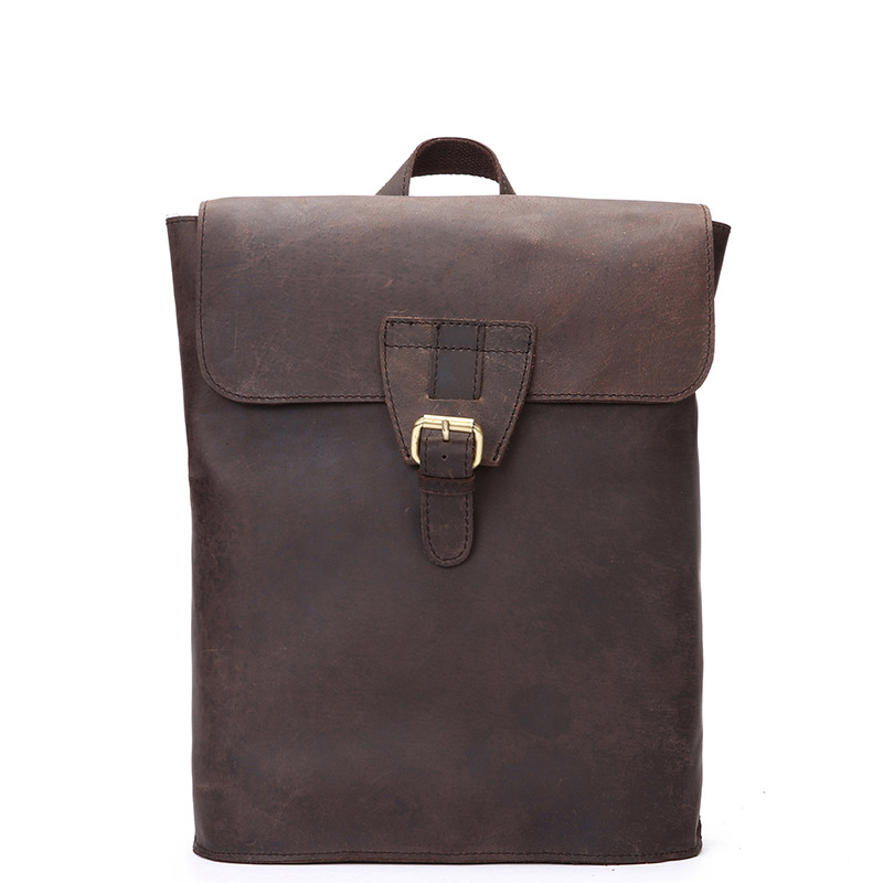 Brand Genuine Leather Women's Daily Travel Backpack Ladies Girl's School Style Bags Rucksack Laptop Bag chic canvas leather british europe student shopping retro school book college laptop everyday travel daily middle size backpack