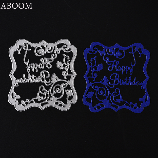aboom 1pc flower flame happy birthday letter die cut dies embossing