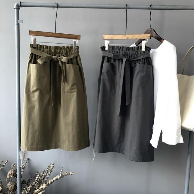 Wankou осень 2017 г. новая юбка для Для женщин большой карман пояса Кружево юбка до колен однотонное Faldas largas Mujer Verano плюс Размеры