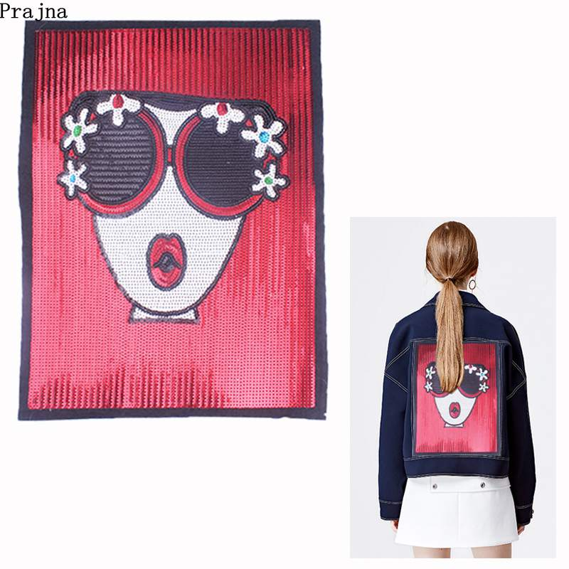 Prajna Sweet Girl With Glasses Big Size Sequined Patches Fashion Sew On For Clothing Applique DIY Jacket Jean Decor