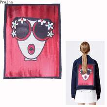 Prajna Sweet Girl With Glasses Big Size Sequined Patches Fashion Girl Sew On Patches For Clothing Applique DIY Jacket Jean Decor sew sweet creatures