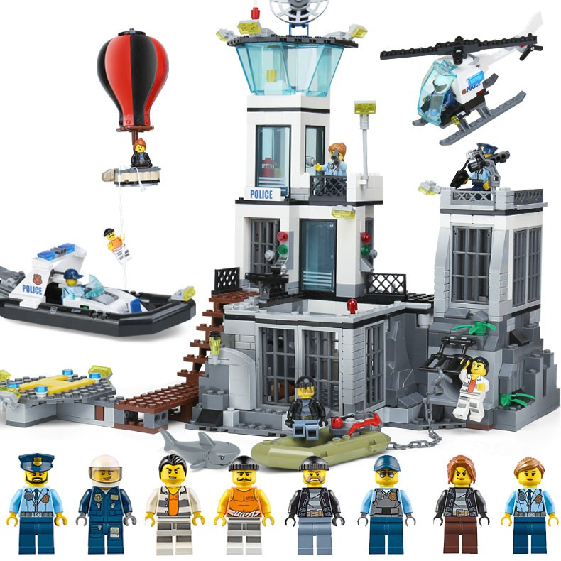 Lepin 02006 City Police Prison Island Building Toy Blocks Self-Locking Bricks Educational Gift Compatible with Lego 60130 407pcs sets city police station building blocks bricks educational boys diy toys birthday brinquedos christmas gift toy