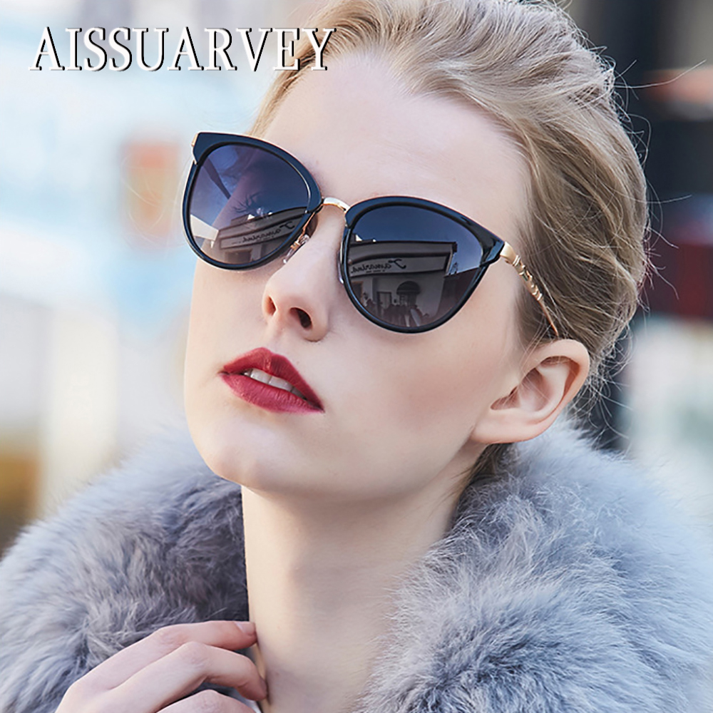 2019 Acetate Fashion Polarized Sunglasses For Women Top Quality Girls Lady Brand Designer Cat's Eye Metal Mirror Luxury Glasses