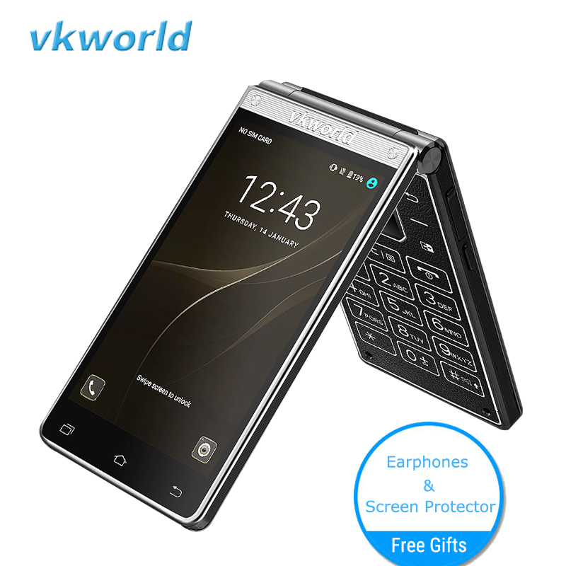 "Vkworld T2 Plus Dual Screen Smartphone 4.2"" 3GB RAM+32GB ROM Android 7.0 Dual Sim Flip 4G Mobile Phone 2000mAh 13MP Cell Phone"