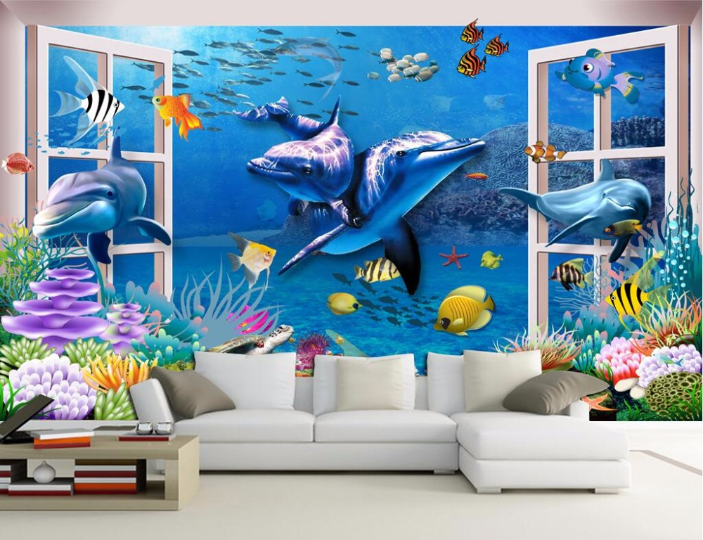 3d room wallpaer custom mural Outside the window of the dolphin decoration painting photo wallpaper for walls 3 d wall murals custom baby wallpaper snow white and the seven dwarfs bedroom for the children s room mural backdrop stereoscopic 3d