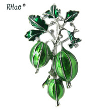 RHao New Enamel Green Olives Brooches for Women Men Kids Crystal Plant Brooch pins Corsage collar coat bags scarf clips hat pins crystal sunflower brooches lapel pins for women corsage scarf dress decoration
