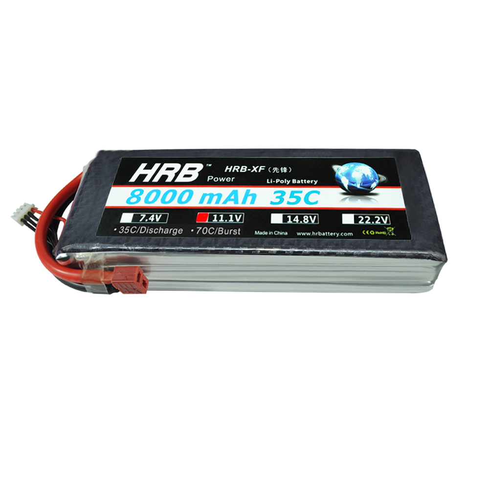HRB RC Bateria AKKU Lipo 3S Battery 11.1V 8000mah 35C MAX 70C Traxxas CAR Drone For RC Helicopter Airplane Car Boat UAV FPV 2pcs yowoo lipo 4s 14 8v 5000mah 60c max 120c battery for rc bateria drone akku helicopter quadcopter car airplane boat uav fpv