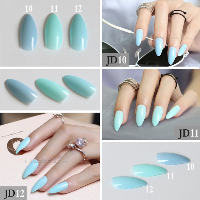 New Fake Short Rose Pointed Soft Pink Nude Red Brown Blue Stiletto False Nails full cover Pure colour candy Purple Khaki White