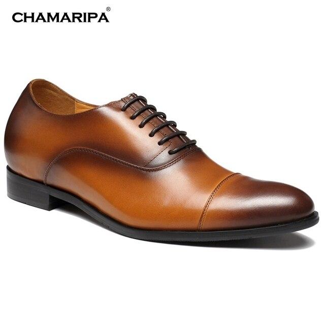 4985ffda25 CHAMARIPA Homens Se Vestem Sapatos Aumentar A Altura 7 cm 2.76 polegada  X92H38 Senhores Couro