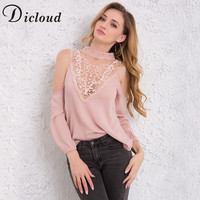 DICLOUD 2018 Spring Women Blouse Lace Patchwork Deep V Neck Off Shoulder Long Sleeve Sexy Shirts